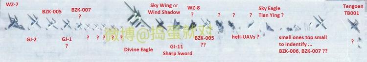 Dàn UAV xuất hiện tại sân bay quân sự Malan. Ảnh: Weibo.