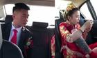 Chú rể ngán ngẩm vì hành động của cô dâu trên xe hoa