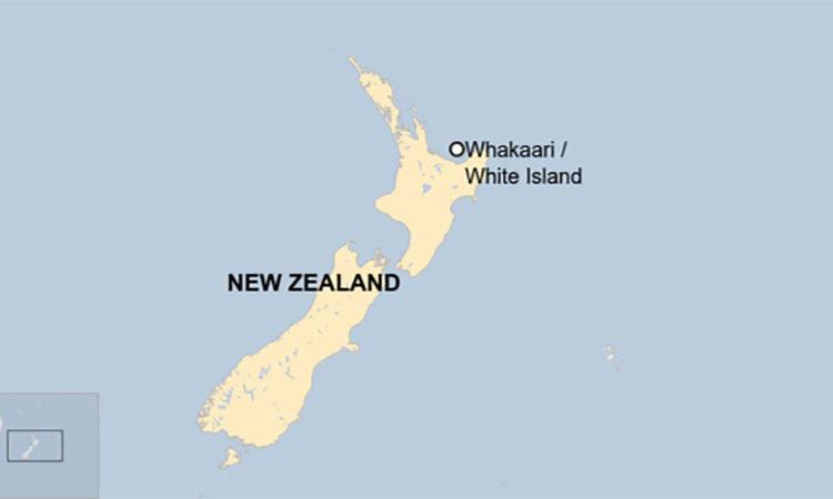 Vị trí đảo White hay Whakaari trên bản đồ New Zealand. Đồ họa: BBC.
