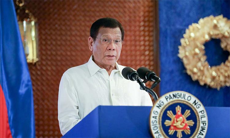 Tổng thống Philippines Rodrigo Duterte phát biểu trong buổi lễ tại phủ tổng thống ở thủ đô Manila ngày 28/11. Ảnh: PPO.