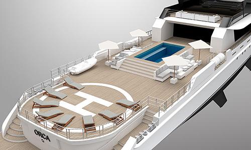 Trên thuyền có cả hồ bơi và bãi đáp máy bay trực thăng. Ảnh: Super Yacht Times.