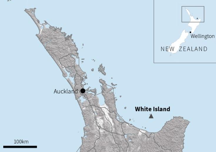 Vị trí đảo White ở ngoài khơi New Zealand. Đồ họa: Reuters.