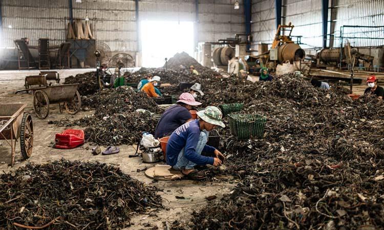 Các công nhân phân loại rác điện tử tại nhà máy New Sky Metal, tỉnh Chachoengsao, Thái Lan hồi tháng 9. Ảnh: NY Times.