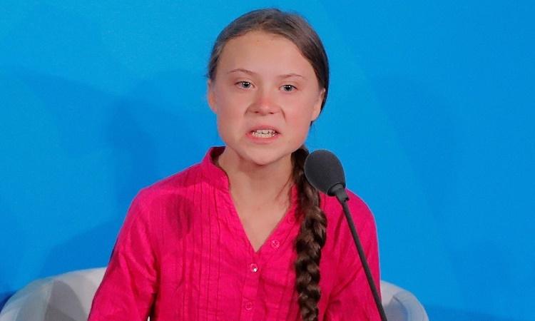 Greta Thunberg phát biểu tại một hội nghị của Liên Hợp Quốc ở New York, Mỹ, hồi tháng 9. Ảnh: Reuters.