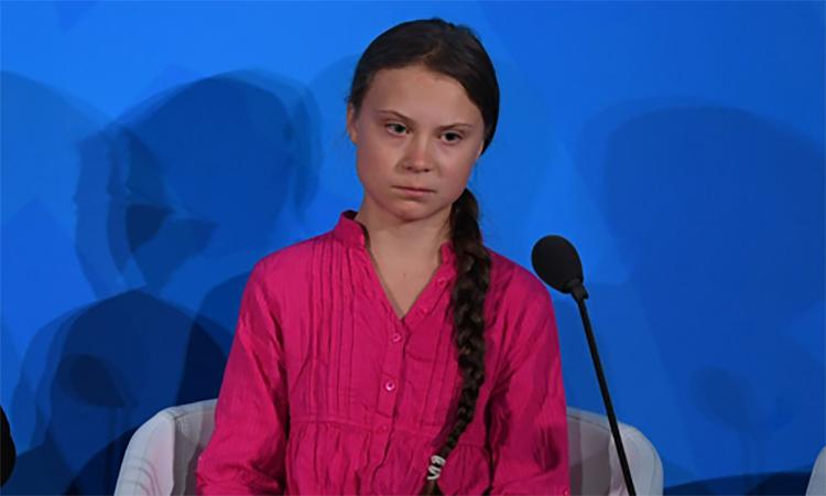 Nhà hoạt động Greta Thunberg tại Hội nghị Hành động vì Khí hậu ở trụ sở Liên Hợp Quốc, New York, Mỹ hôm 23/9. Ảnh: AFP.