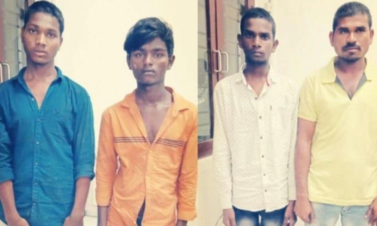 Bốn nghi phạm cưỡng hiếp, sát hại nữ bác sĩ thú y Priyanka tại đồn cảnh sát ở Hyderabad hôm 27/11. Ảnh: India Today.