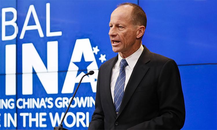 Trợ lý Ngoại trưởng Mỹ David Stilwell phát biểu tại sự kiện của Viện Brookings ở thủ đô Washington D.C, Mỹ ngày 2/9. Ảnh: BI.