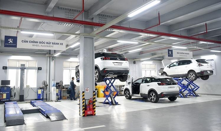 Trung tâm chăm sóc bảo dưỡng xe tại showroom Peugeot Long Biên, Hà Nội.