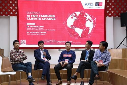 Hội thảo Giải pháp AI trong ứng phó biến đổi khí hậu có sự tham dự của các chuyên gia uy tín hàng đầu về CNTT và BĐKH.