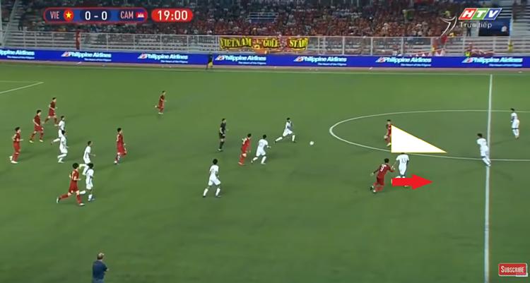 Minh họa bàn mở tỷ số của Việt Nam ở bán kết với Campuchia. Hùng Dũng vừa chuyền cho Tiến Linh. Cùng thời điểm, Đức Chinh chạy lên trong khi Tiến Linh chỉ vừa liếc thấy đồng đội.