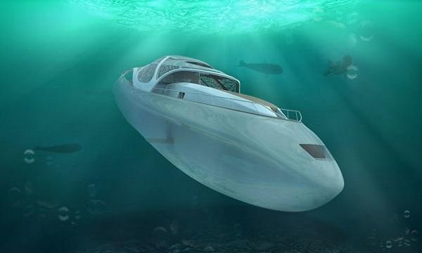 Thiết kế du thuyền siêu sang kết hợp tàu ngầm. Ảnh: CNN.