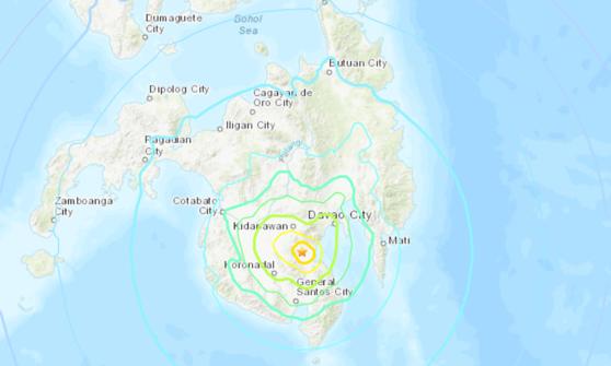 Vị trí trận động đất ở Philippines hôm nay. Ảnh: USGS.