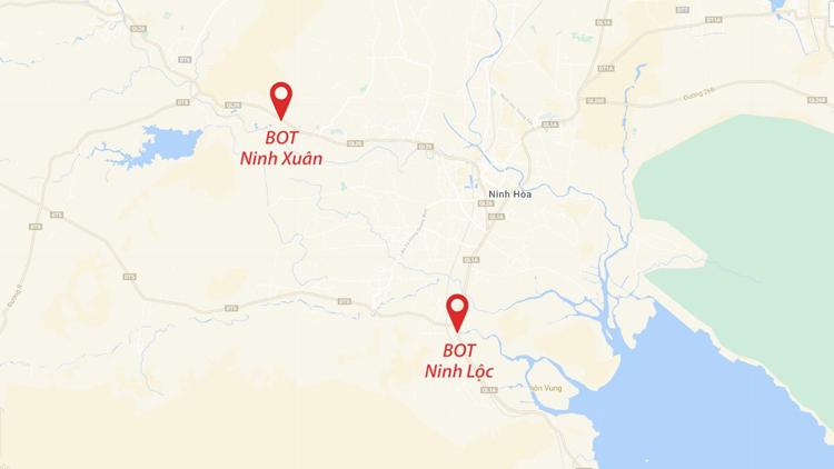 Vị trí trạm BOT Ninh Xuân bị tài xế phản ứng vì đặt gần trạm BOT Ninh Lộc. Ảnh: Lê Huyền.