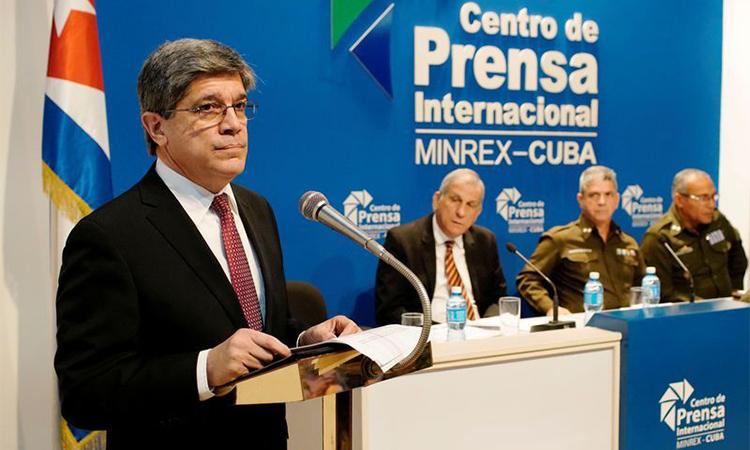 Vụ trưởng các vấn đề Mỹ của Bộ Ngoại giao Cuba, Carlos Fernandez de Cossio phát biểu tại Havana hôm 16/12. Ảnh: Reuters.