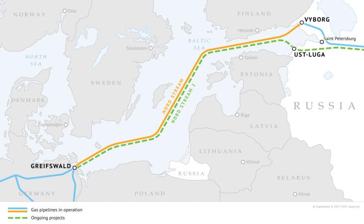 Đường ống dẫn khí Nord Stream 2 từ Nga sang Đức qua biển Baltic. Đồ họa: Gazprom.