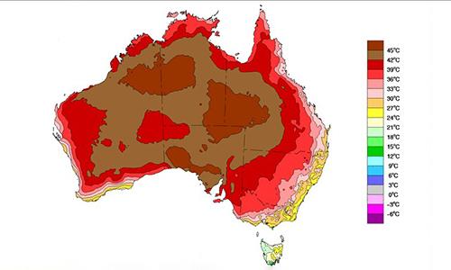 Bản đồ nhiệt ở Australia hôm 17/12. Ảnh: Washington Post.