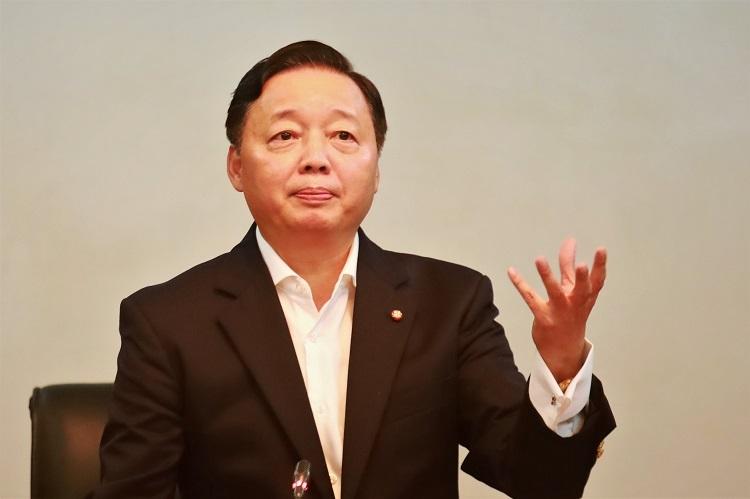 Bộ trưởng Trần Hồng Hà phát biểu trong cuộc họp. Ảnh: Gia Chính