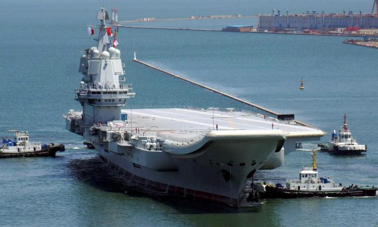 Tàu Sơn Đông ra biển thử nghiệm đầu năm 2019. Ảnh: SCMP.