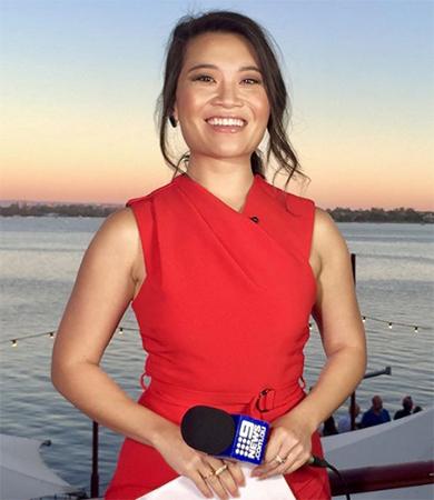 Tracy Võ dẫn chương trình của 9 News tại Perth hồi tháng một. Ảnh: Tracy Vo/Instagram