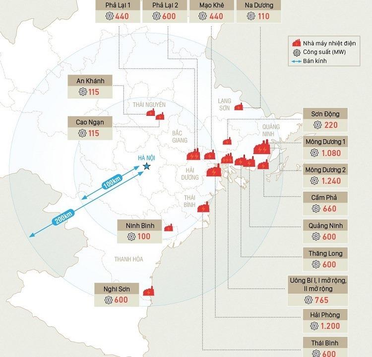 Các nhà máy nhiệt điện than bao quanh Hà Nội. Đồ hoạ: Tạ Lư - Nguồn: EVN.