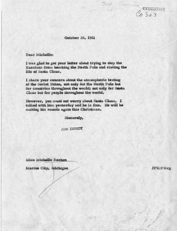Lá thư Kennedy gửi cho bé gái năm 1961. Ảnh: