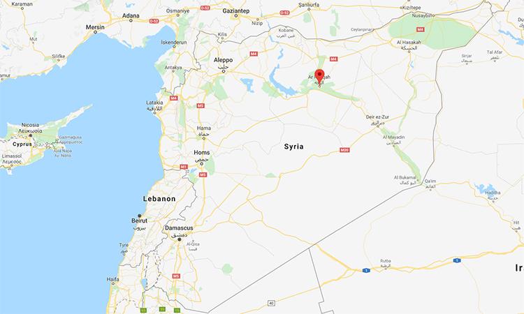 Vị trí thành phố Raqqa, Syria (đánh dấu đỏ). Đồ họa: Google