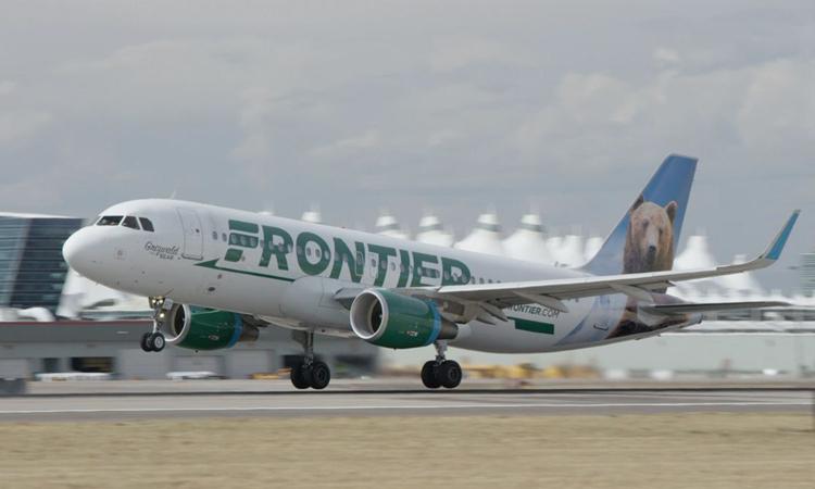 Một máy bay của hãng Frontier Airlines tại sân bay quốc tế Denver năm 2018. Ảnh: Frontier Airlines.