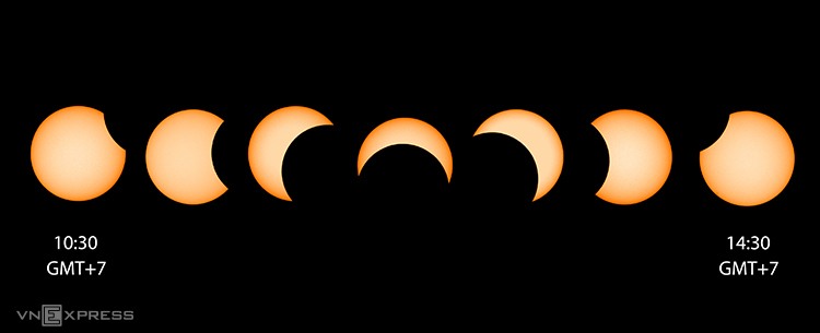 Tổng hợp hành trình Mặt Trăng đi qua phía trước Mặt Trời từ10h30 tới 14h30 ngày 26/12. Ảnh: Phạm Thanh Sơn và Nguyễn Trần Hạ tại TP Vũng Tàu (Việt Nam).