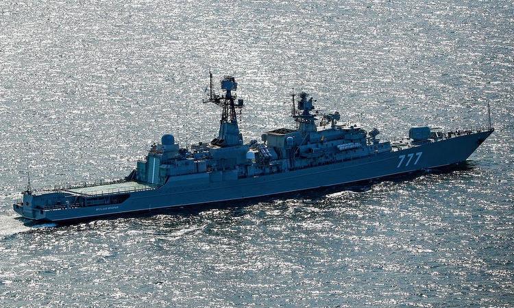 Tàu hộ vệ Yaroslav Mudry của Nga trong một cuộc tập trận hồi tháng 8. Ảnh: TASS.
