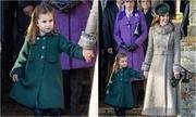 Công chúa nhí bắt chước mẹ thi lễ với Nữ hoàng Anh