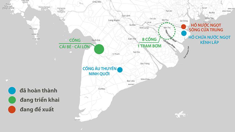 Vị trí các dự án chống hạn mặn ở miền Tây. Ảnh: Thanh Huyền.