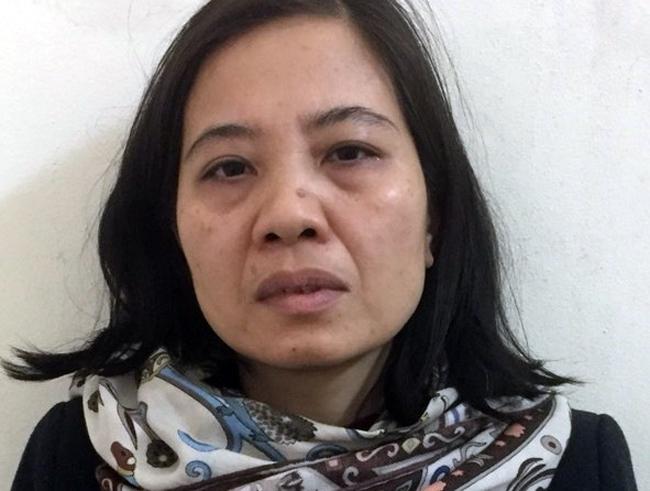 Bị can Nguyễn Thị Thu Thuỷ tại cơ quan công an. Ảnh. Bộ Công an