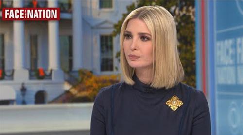 Ivanka Trump trong chương trình Face The Nation trên kênh CBS. Ảnh: CBS News