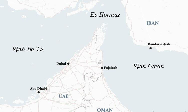 Cuộc tập trận chung Iran - Nga - Trung Quốc diễn ra trên Vịnh Oman. Đồ họa: MEE.