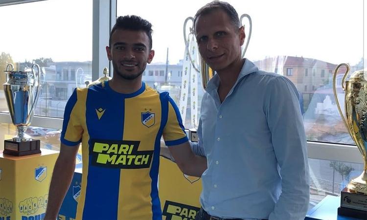 Omar Hani (trái) được định giá khoảng 100.000 euro khi gia nhập APOEL hồi tháng 7/2019. Ảnh: APOEL.