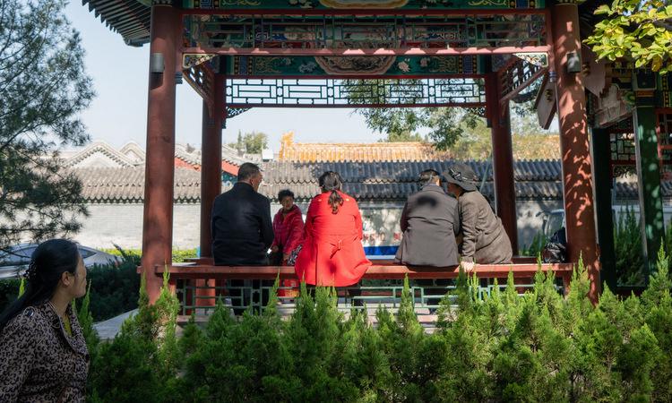 Người cao tuổi Trung Quốc hẹn hò trong công viên ở Bắc Kinh. Ảnh: NY Times.