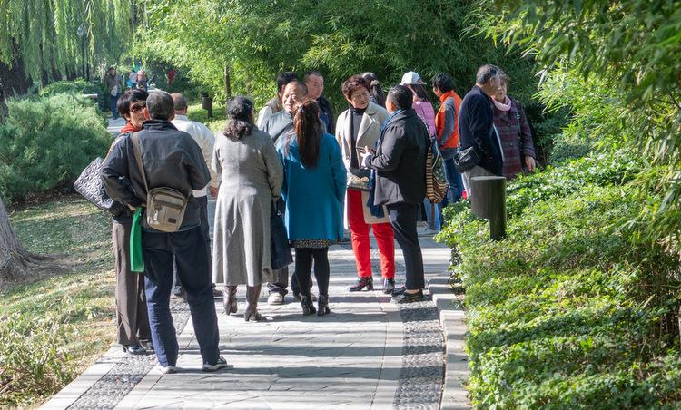 Nhiều đôi người cao tuổi nói chuyện trong công viên ở Bắc Kinh. Ảnh: NY Times.