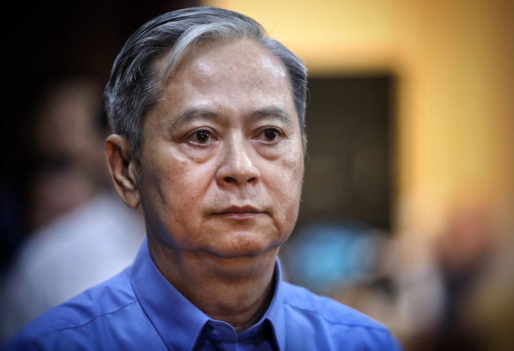 Ông Nguyễn Hữu Tín tại tòa hôm nay. Ảnh: Hữu Khoa.