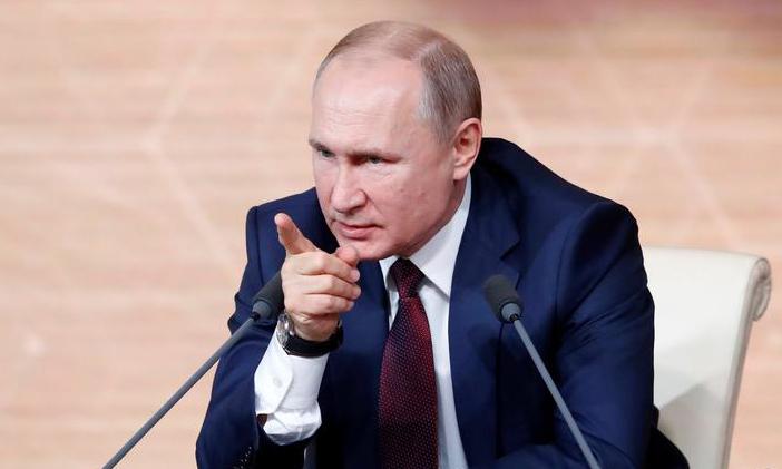 Tổng thống Nga Vladimir Putin trong cuộc họp báo cuối năm tại Moskva, Nga hôm 19/12. Ảnh: Reuters.