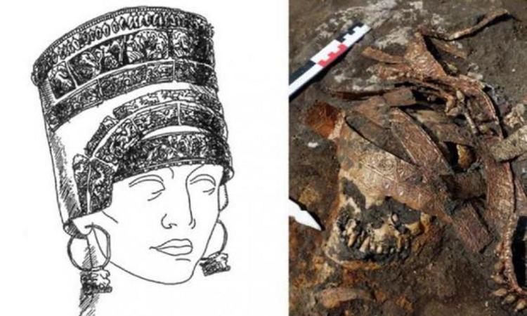 Chiếc mũ làm bằng kim loại quý của người phụ nữ Scythia. Ảnh: Newsweek.