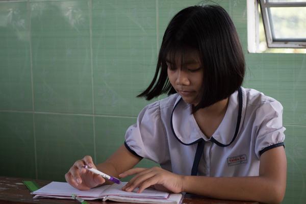 Thương - học sinh Trường tình thương Thiên Ân, quận Bình Tân, TP HCM.