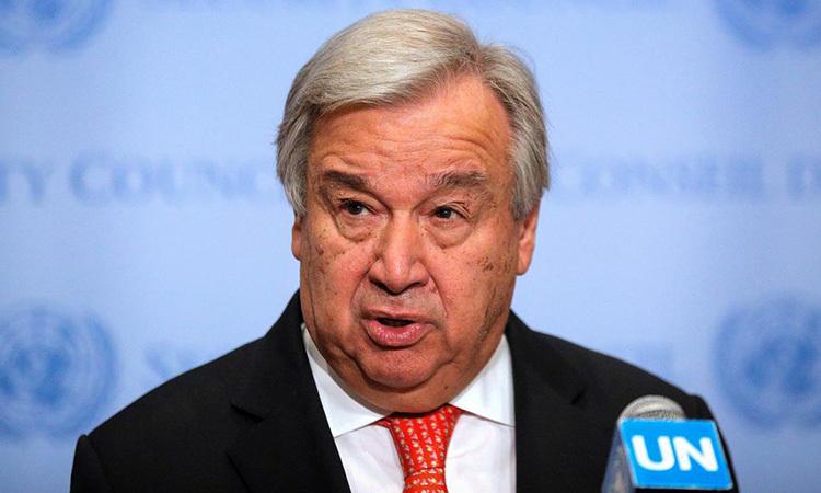 Tổng thư ký Liên Hợp QuốcAntonio Guterres phát biểu tại New York, Mỹ 1/8/2019. Ảnh: Reuters.