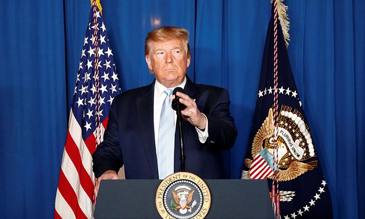 Tổng thống Mỹ Donald Trump trong cuộc họp báo ngày 3/1 tại khu nghỉ dưỡng Mar-a-Lago, bang Florida. Ảnh: Reuters.