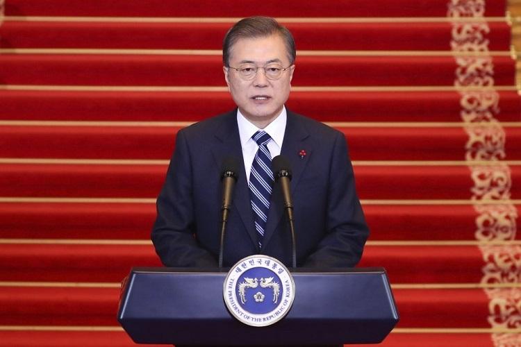 Tổng thống Hàn Quốc Moon Jae-in phát biểu tại phủ tổng thống ngày 7/1. Ảnh: AP.