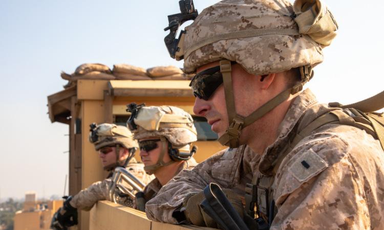 Lính Mỹ triển khai bảo vệ đại sứ quán tại Baghdad hôm 3/1. Ảnh: USMC.