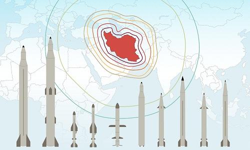 Dàn tên lửa có thể bao trùm toàn bộ Trung Đông của Iran. Bấm vào ảnh để xem đầy đủ.