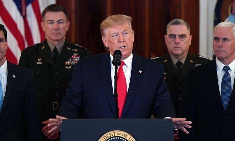 Trump phát biểu tại Nhà Trắng ngày 8/1. Ảnh:AFP.