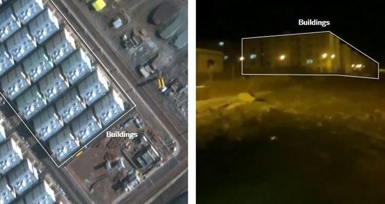 Hình ảnh tòa nhà trong video khớp với ảnh chụp vệ tinh. Ảnh: NYTimes.