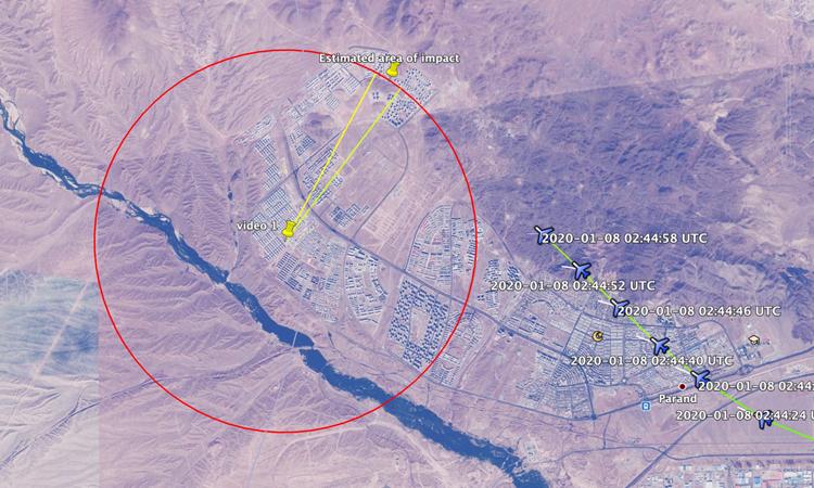 Đường đi của máy bay và vị tríbị vật thể nghi là tên lửa bắn trúng (điểm màu vàng). Đồ họa: Bellingcat.