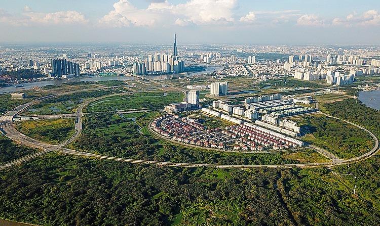 Khu đô thị mới Thủ Thiêm nhìn từ trên cao. Ảnh: Quỳnh Trần